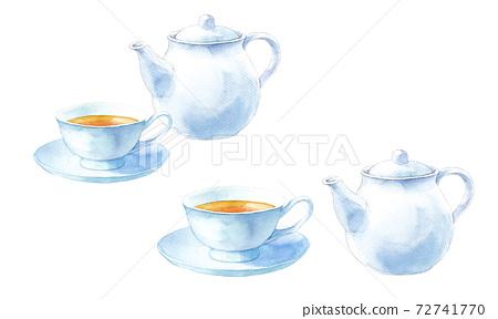 白茶碗。茶具的水彩插圖。茶壺和茶杯碟。 72741770