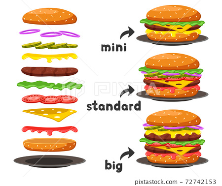 Set of burgers of different sizes and their components on a white background. 72742153