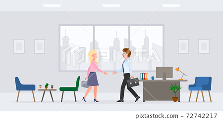 Cartoon character guy and lady hands shaking in modern workplace vector illustration set. Man and woman business partners, meeting client, saying hello in office room on cityscape silhouette 72742217