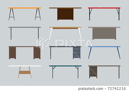 Modern, contemporary, loft, cartoon flat style business office table vector illustration set. Wooden, empty, stylish front view desk workplace icon collection on gray 72742218