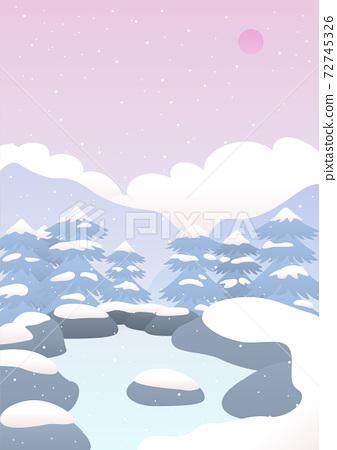 白雪皚皚的溫泉風景矢量圖 72745326