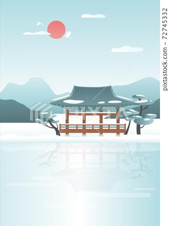 韓國冬季風景矢量圖 72745332
