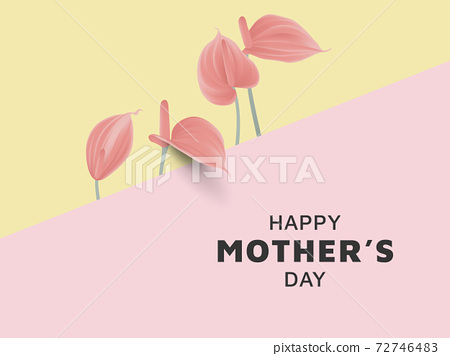 Happy mother's day greeting card design, minimalist red Anthurium flowers on pink and yellow 72746483