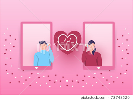 Boy and girl talk via string phone, love expression for girlfriend, romantic talk, loving relationship Valentines day . Vector flat style cartoon illustration 72748520