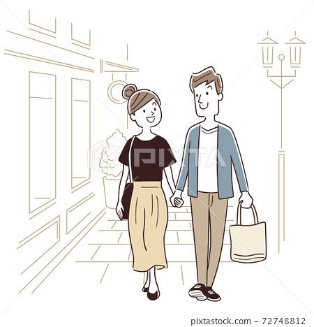 矢量圖材料:夫婦,和一對逛街 72748812