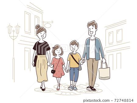 矢量圖素材:家庭購物,購物,外出 72748814