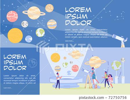Public Planetarium Presentation Header Banner Set 72750756