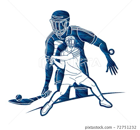 Group of Hurling sport players action. Irish Hurley sport cartoon graphic vector. 72751232