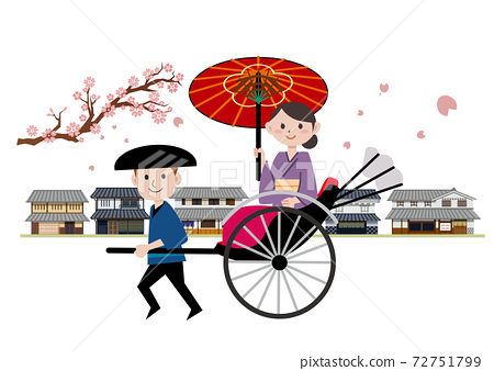 Rikisha,年輕女子,和服,市中心,春天,櫻花 72751799