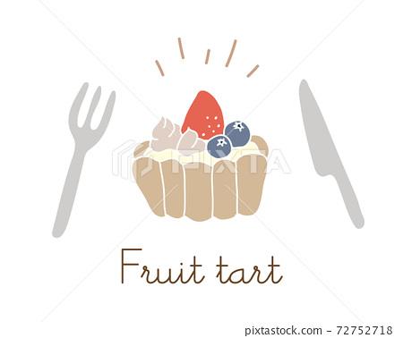 손으로 그린 과일 타트 일러스트 / 딸기 / 블루 베리 / 딸기 / 스위트 / 양과자 / 디저트 72752718