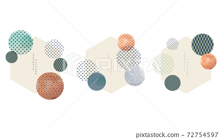 Japanese pattern vector. Geometric background. Abstract elements with watercolor texture wallpaper in Chinese style. 72754597