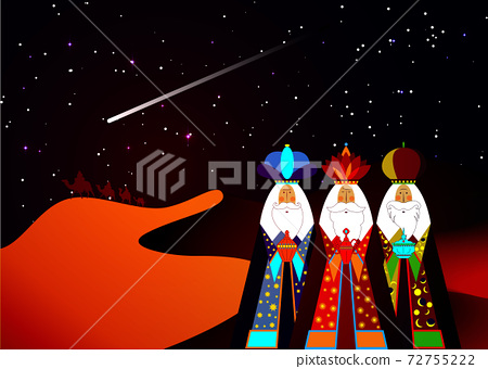 Three wise men Christmas. Three biblical Kings, Caspar, Melchior and Balthazar. Bethlehem Nativity concept, Epiphany is a Christian festival. The Gift of the Magi vector isolated, black sky and comet 72755222