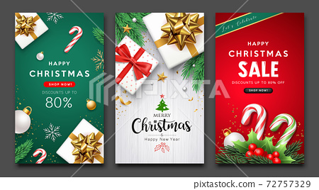 Merry Christmas and happy new year sale flyer poster three design collections background 72757329