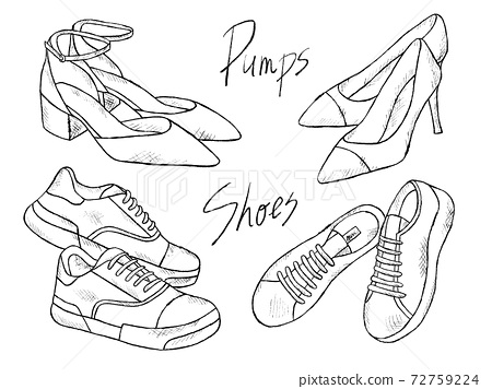 Black and white handwritten illustration image of shoes and pumps 72759224