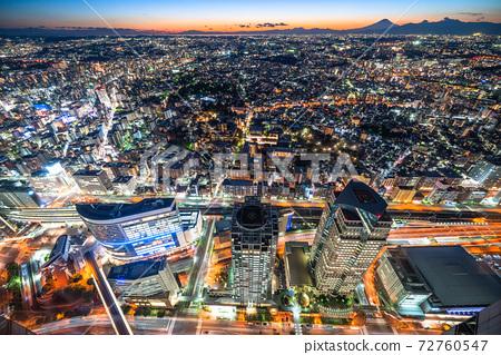 """Kanagawa Prefecture"" Night view, skyscrapers and residential area of Yokohama 72760547"