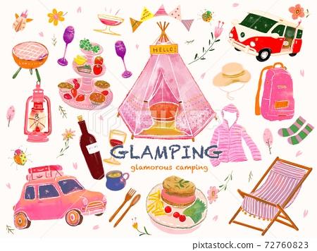 營地女孩可愛的粉紅色物品的插圖 72760823