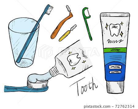 牙刷和牙齒的手繪插圖圖像 72762314