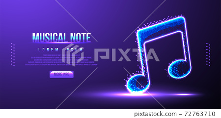 musical note, instrument low poly wireframe mesh vector illustration 72763710