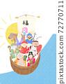 新年賀卡的寶船,七個吉祥的神和Amabier插圖沒有字符 72770711