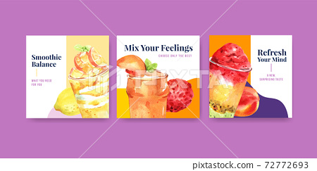 Advertise template with fruits smoothies concept design for marketing and commercial watercolor vector illustration 72772693