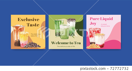 Advertise template with bubble milk tea concept design for commercial and marketing watercolor vector illustration 72772732