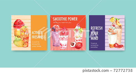 Advertise template with fruits smoothies concept design for marketing and commercial watercolor vector illustration 72772738