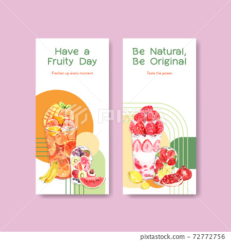 Flyer template with fruits smoothies concept design for brochure and leaflet watercolor vector illustration 72772756