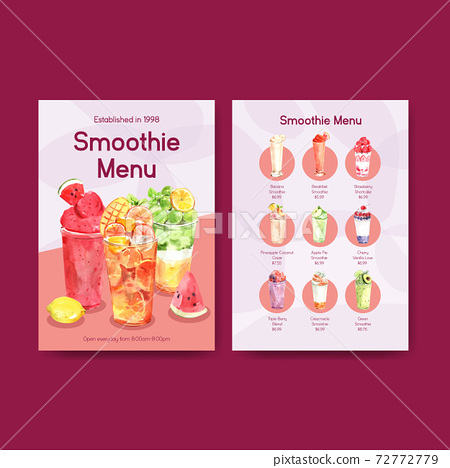 Menu template with fruits smoothies concept design for bistro and restaurant watercolor vector illustration 72772779