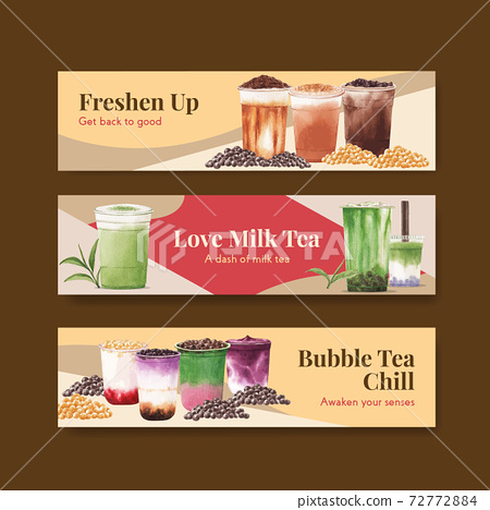 Banner template with bubble milk tea concept design for advertise and commercial watercolor vector illustration 72772884