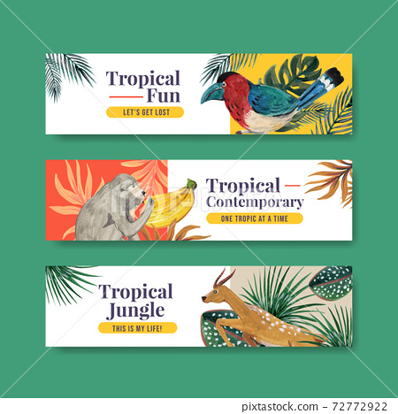 Banner template with tropical contemporary concept design for advertise and marketing watercolor vector illustration 72772922