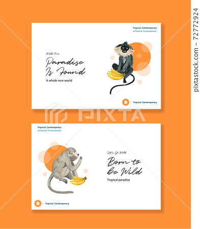 Facebook template with tropical contemporary concept design for social media and online marketing watercolor vector illustration 72772924