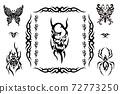 악마 해골, 거미, 나비 문신 디자인 72773250