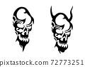 악마, 해골 문신 디자인 72773251