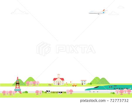 可以在背景中使用的北海道觀光風景(春天) 72773732