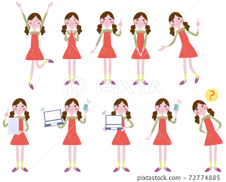 戴著圍裙的女人的各種面部表情設置插圖 72774885