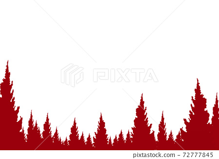 Red Christmas trees, forest with falling snow,t, 3d paper cut style isolate on  png or transparent   background,for new product, promotion, advertising, vector illustration  72777845