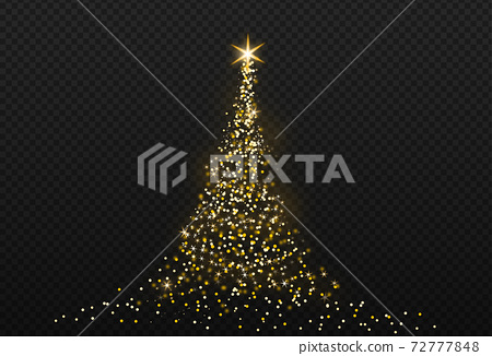 Christmas tree gold bokeh glitter particles isolate on png or transparent  background with sparkling  snow, star light  fo , New Year, Birthdays, Special event, luxury card,  rich style.   72777848