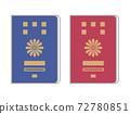 兩種護照的插圖(紅色,海軍藍色,簡單的手感) 72780851