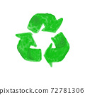 recycle symbol green watercolor isolated on white background 72781306