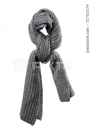knitted gray winter scarf isolated on white background 72783574