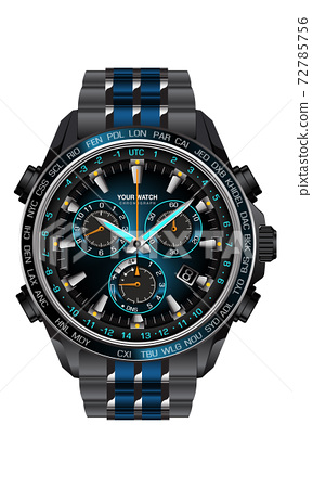 Realistic clock watch chronograph blue dark grey metal steel design for men on white background vector illustration. 72785756