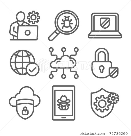 Certified Ethical Hacking CEH icon set showing virus, exposing vulnerabilities, and hacker 72786260