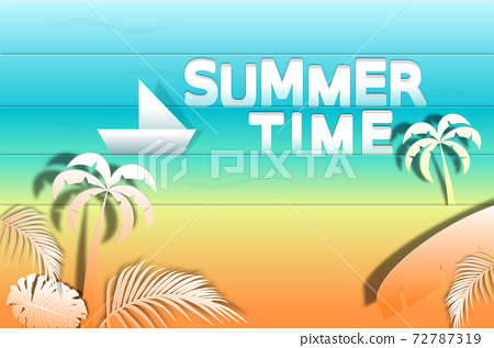 """""""Summer time"""" vector banner design with gradient and colorful beach elements. Vector illustrator 72787319"""