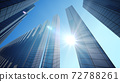 Perspective view, the skyscraper is directed to the sky and Sun. 72788261
