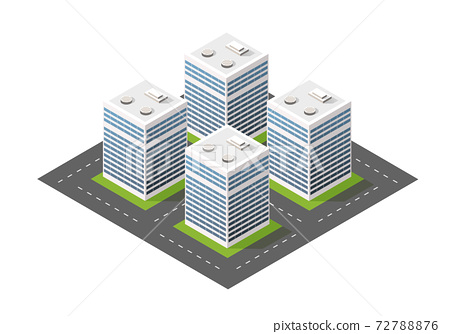 Isometric module city from urban building architecture. 72788876