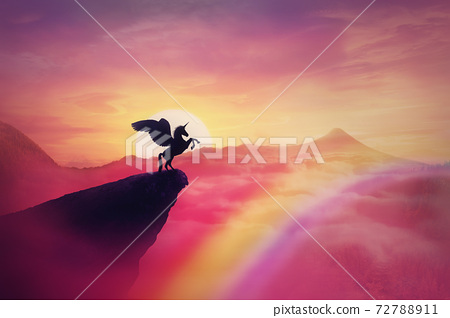 Wild pegasus silhouette on a cliff edge against a pink paradise sunset. Magical background, surreal creature as unicorn with wings, over the rainbow. Freedom and adventure concept, secret dreamland 72788911