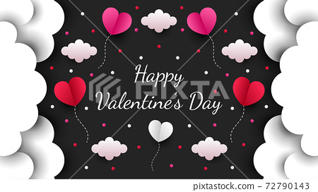 Happy valentines day paper cut style with colorful heart shape in black background 72790143