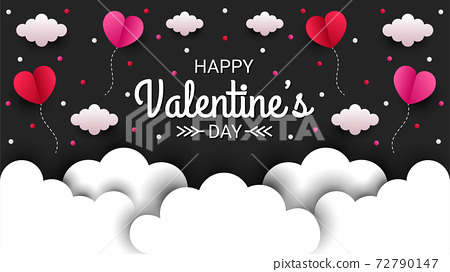 Happy valentines day paper cut style with colorful heart shape in black background 72790147