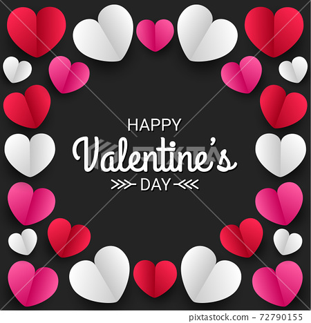Happy valentines day paper cut style with colorful heart shape in black background 72790155