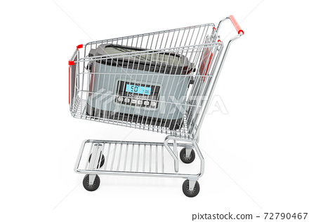 Sous vide machine inside shopping cart, 3D rendering 72790467